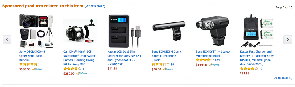 Amazon Sponsored Products Screenshot