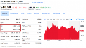 Quote for SPY from Yahoo Finance